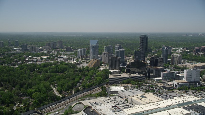 5K aerial video approaching skyscrapers and high-rises, Buckhead, Georgia Aerial Stock Footage | AX36_065