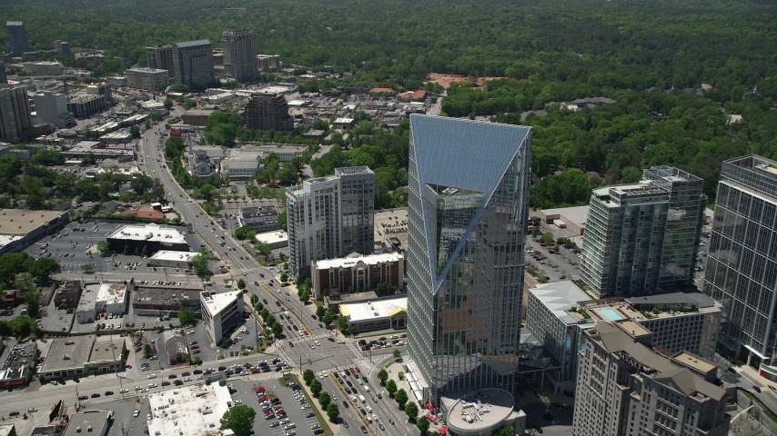 5K stock footage aerial video approaching Terminus Atlanta and tilting down to a bird's eye shot, Buckhead, Georgia Aerial Stock Footage | AX36_067