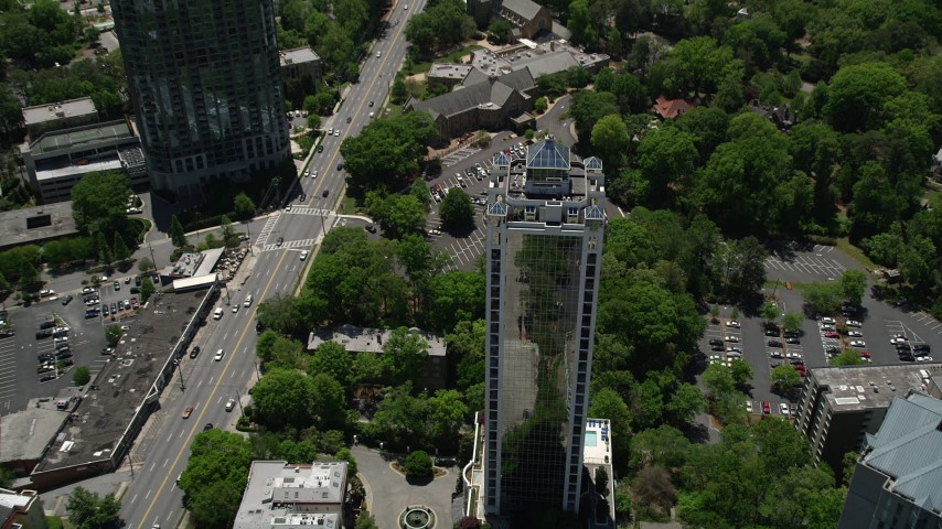 5K stock footage aerial video tilting down to bird's eye of 2828 Peachtree, Buckhead, Georgia Aerial Stock Footage | AX36_080
