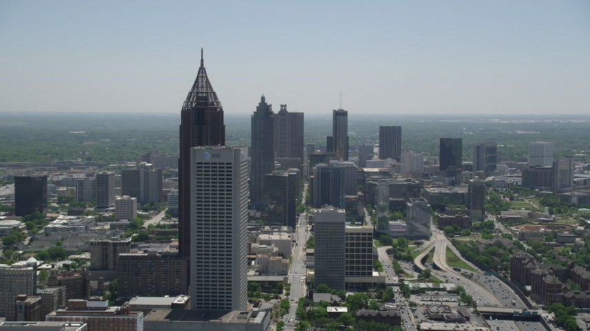 5K stock footage aerial video approaching Bank of America Plaza and AT&T Building, Midtown Atlanta, Georgia Aerial Stock Footage | AX36_090