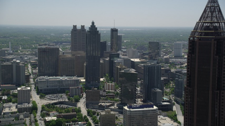 5K stock footage aerial video approaching SunTrust Plaza and high-rises, Downtown Atlanta, Georgia Aerial Stock Footage | AX36_092