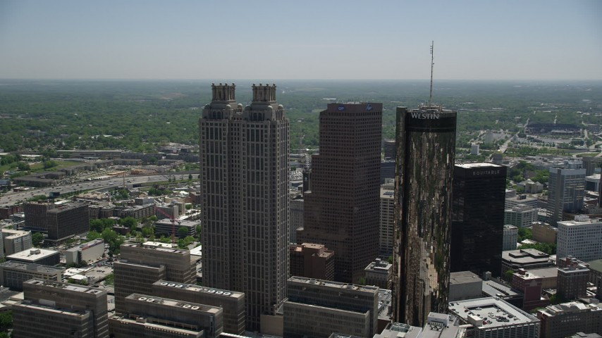 5K stock footage aerial video flying by skyscrapers, Downtown Atlanta, Georgia Aerial Stock Footage | AX36_095