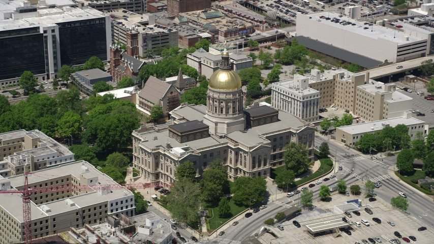 5K stock footage aerial video orbiting Georgia State Capitol, Downtown Atlanta Aerial Stock Footage | AX36_099