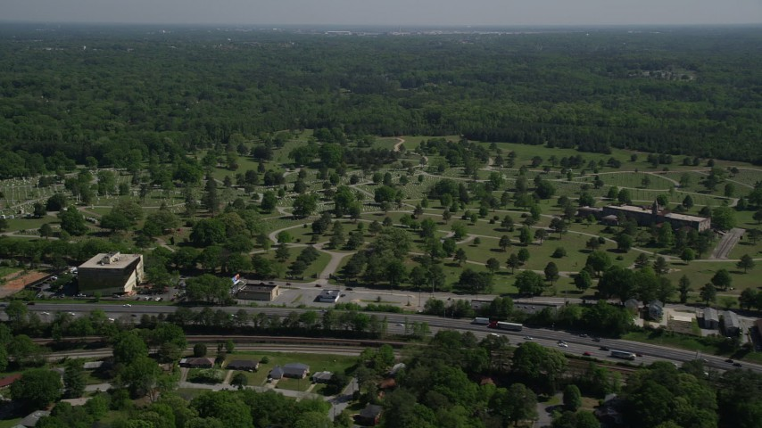 5K stock footage aerial video approaching a cemetery, Atlanta, Georgia Aerial Stock Footage | AX37_004