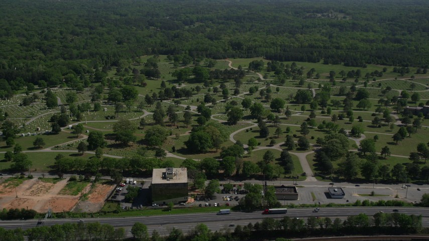 5K stock footage aerial video approaching a cemetery, West Atlanta, Georgia Aerial Stock Footage | AX37_005