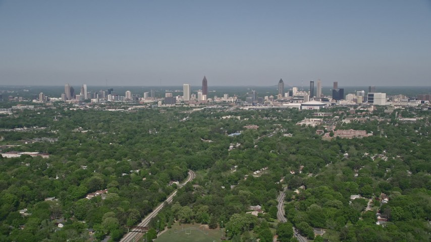 5K stock footage aerial video of Midtown and Downtown Atlanta seen from West Atlanta, Georgia Aerial Stock Footage | AX37_006
