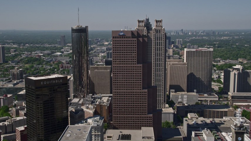 5K stock footage aerial video flying by skysrapers, Downtown Atlanta, Georgia Aerial Stock Footage   AX37_013E