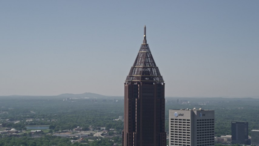 5K stock footage aerial video of a medium shot approaching Bank of America Plaza, Midtown Atlanta Aerial Stock Footage | AX37_016