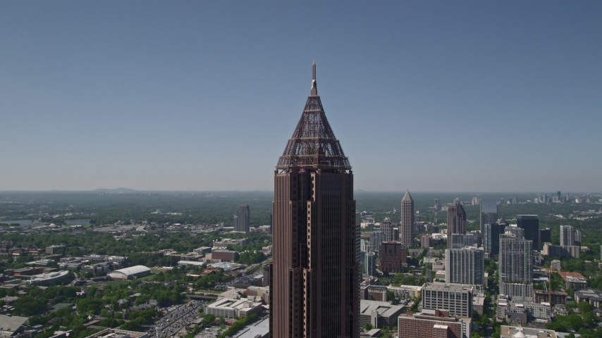 5K aerial video orbiting Bank of America Plaza, Midtown Atlanta, Georgia Aerial Stock Footage | AX37_017