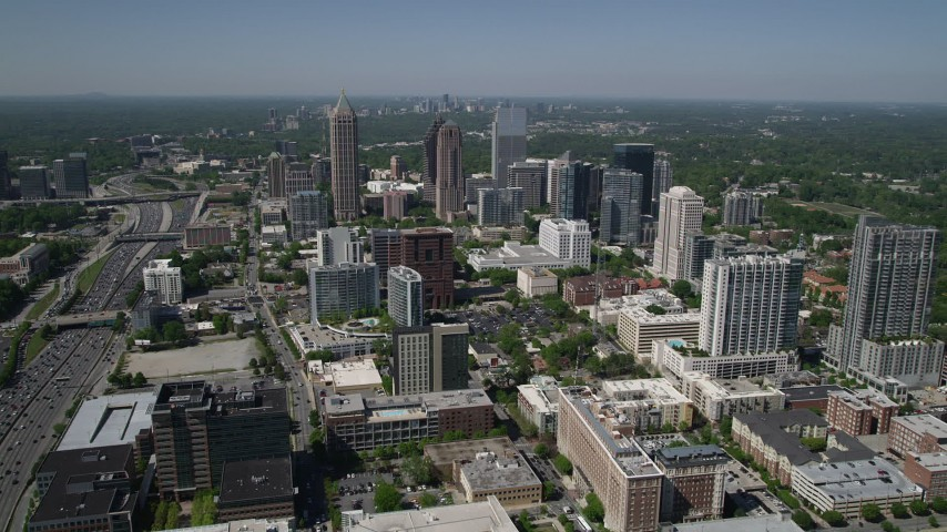5K stock footage aerial video approaching One Atlantic Center, Midtown Atlanta, Georgia Aerial Stock Footage | AX37_018