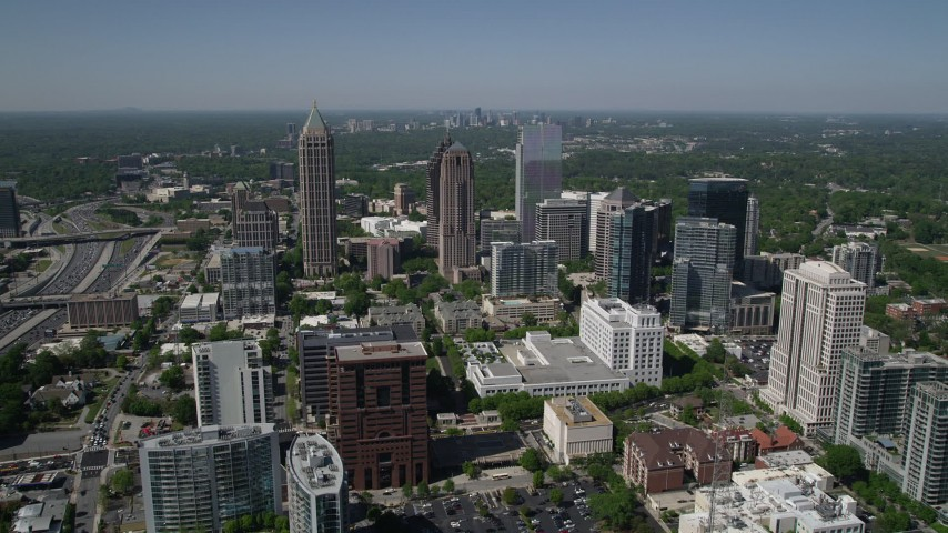 5K stock footage aerial video approaching One Atlantic Center, GLG Grand, 1180 Peachtree, Midtown Atlanta, Georgia Aerial Stock Footage | AX37_019