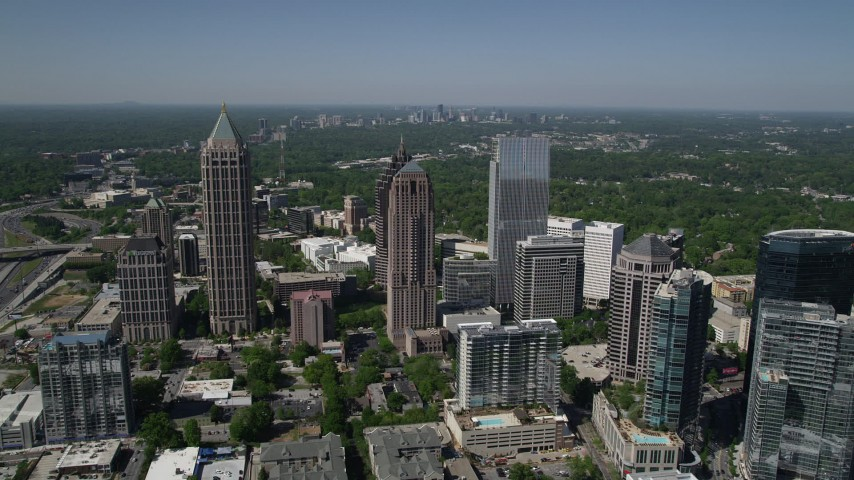 5K stock footage aerial video approaching Midtown buildings and skyscrapers, Atlanta, Georgia Aerial Stock Footage | AX37_020