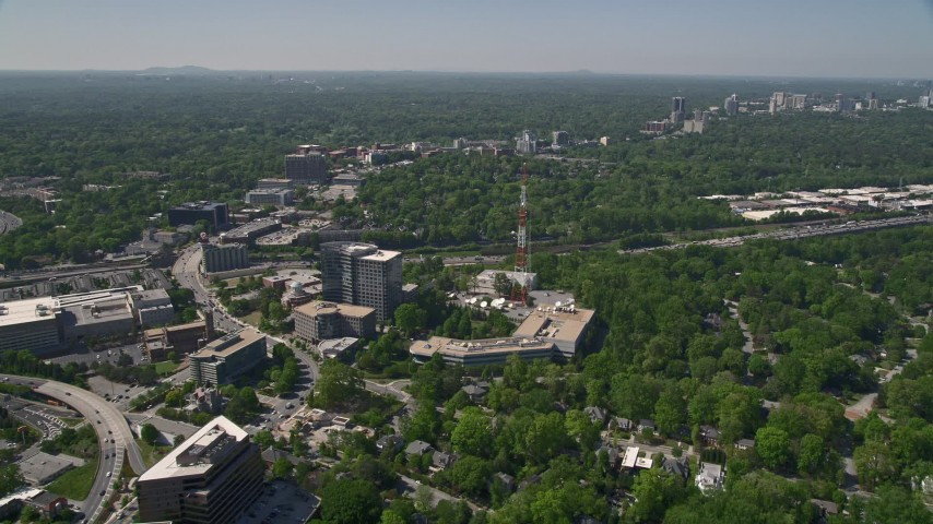 5K stock footage aerial video approaching WSB TV station, Midtown Atlanta,  Georgia