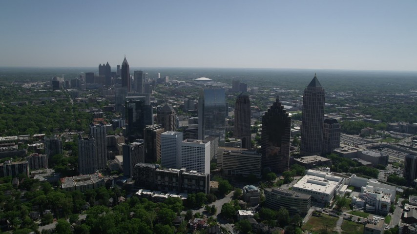5K stock footage aerial video approaching buildings and skyscrapers, Midtown Atlanta, Georgia Aerial Stock Footage | AX37_024