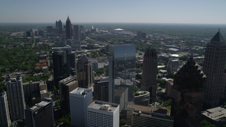 5K stock footage aerial video approaching 1180 Peachtree, Midtown Atlanta, Georgia Aerial Stock Footage | AX37_025