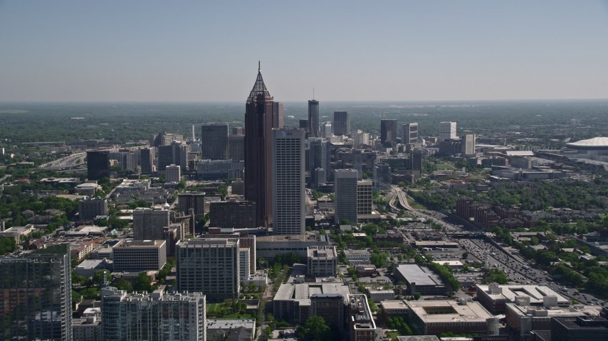 5K stock footage aerial video of Bank of America Plaza, AT&T Midtown center, Midtown Atlanta, Georgia Aerial Stock Footage | AX37_026