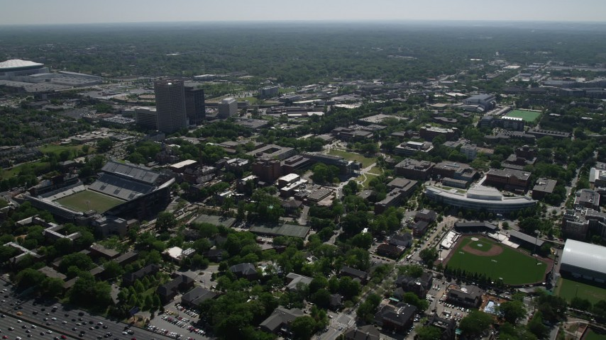 5K stock footage aerial video flying by Georgia Institute of Technology, Atlanta, Georgia Aerial Stock Footage | AX37_027