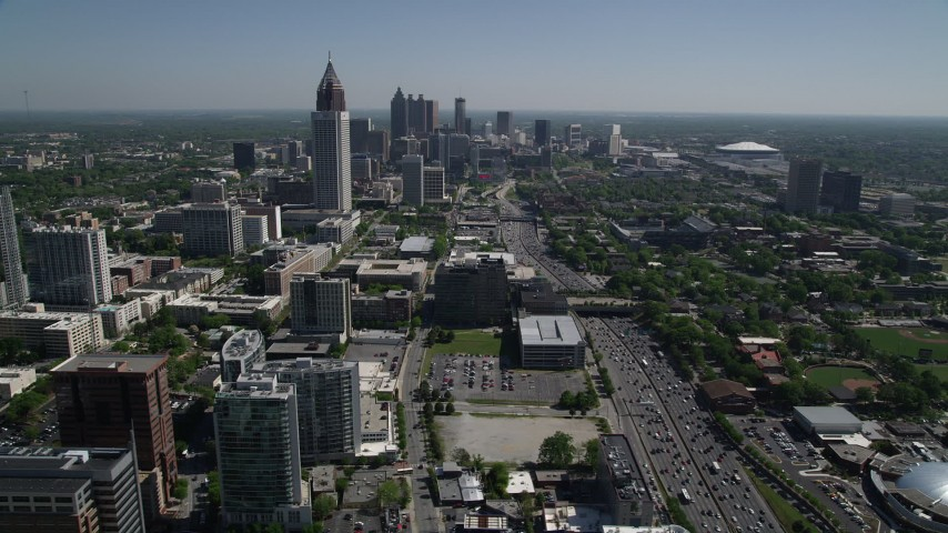 5K stock footage aerial video of Bank of America Plaza and skyscrapers , Downtown and Midtown Atlanta, Georgia Aerial Stock Footage | AX37_036