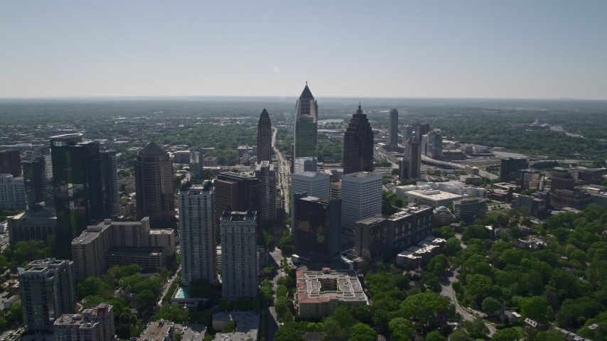 5K stock footage aerial video approaching Midtown Atlanta skyscrapers, Georgia Aerial Stock Footage | AX37_038