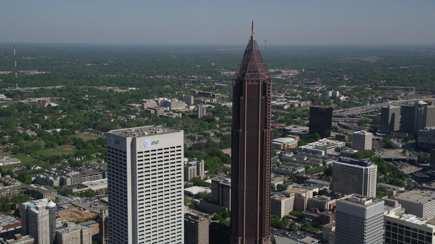 5K stock footage aerial video of a medium shot orbiting Bank of America Plaza, Midtown Atlanta, Georgia Aerial Stock Footage | AX37_043