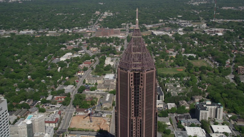 5K aerial video of a medium shot orbiting Bank of America Plaza, Midtown Atlanta, Georgia Aerial Stock Footage | AX37_044