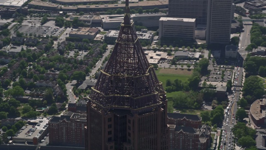 5K aerial video of close-up orbiting the top of Bank of America Plaza, Atlanta, Georgia Aerial Stock Footage | AX37_046