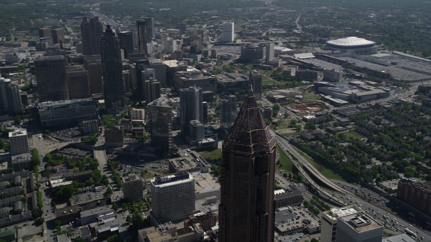 5K aerial video orbiting Bank of America Plaza, Midtown Atlanta, Georgia Aerial Stock Footage | AX37_047