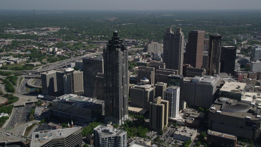 5K stock footage aerial video approaching SunTrust Plaza, Downtown Atlanta, Georgia Aerial Stock Footage | AX37_049