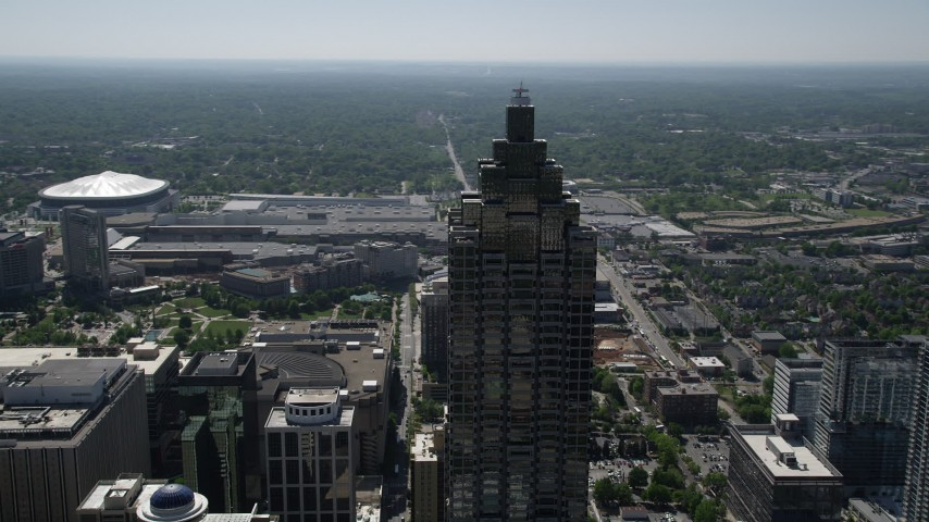 5K stock footage aerial video orbiting top of SunTrust Plaza, Downtown Atlanta, Georgia Aerial Stock Footage | AX37_051