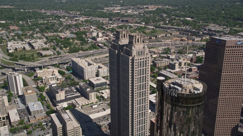 5K stock footage aerial video orbiting 191 Peachtree Tower, Downtown Atlanta, Georgia Aerial Stock Footage | AX37_053
