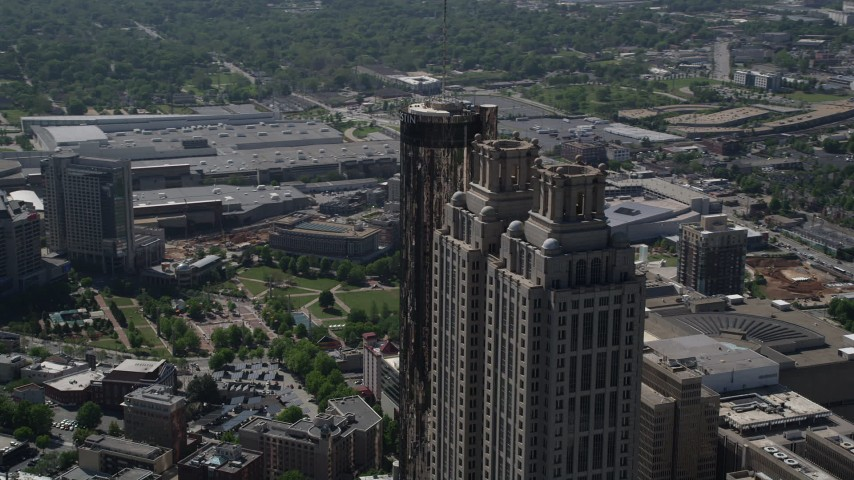 5K stock footage aerial video orbiting the top of 191 Peachtree Tower, Downtown Atlanta Aerial Stock Footage | AX37_055