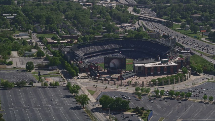 5K stock footage aerial video orbiting empty Turner Field, Atlanta, Georgia Aerial Stock Footage | AX37_061
