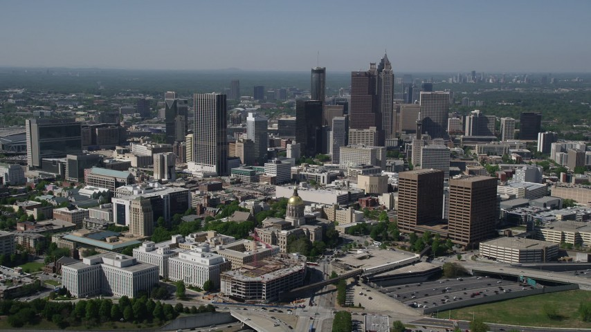 5K aerial video approaching State Capitol and skyscrapers, Downtown Atlanta Aerial Stock Footage AX37_063