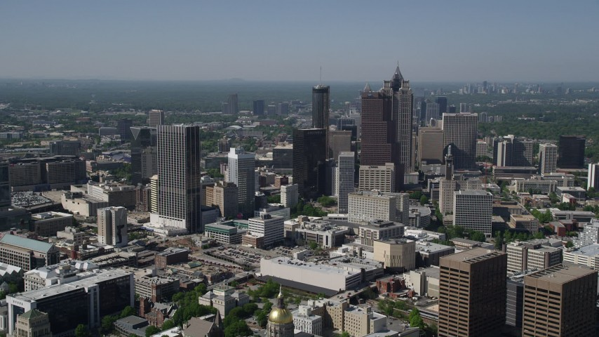 5K stock footage aerial video approaching Downtown Atlanta skyscrapers, Georgia Aerial Stock Footage | AX37_064