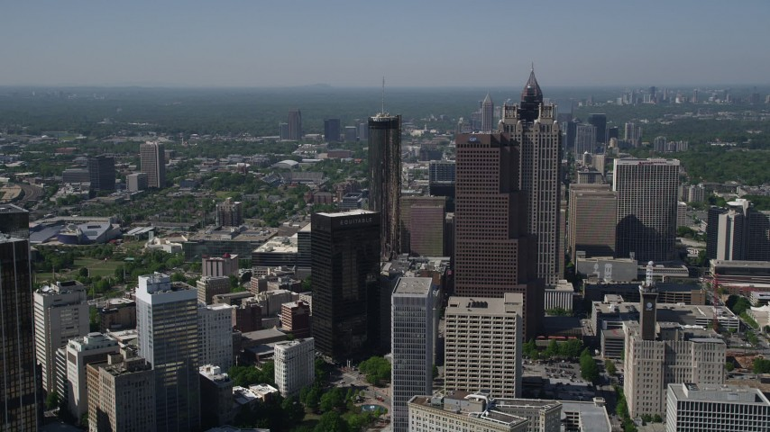 5K stock footage aerial video approaching skyscrapers, Downtown Atlanta, Georgia Aerial Stock Footage | AX37_065