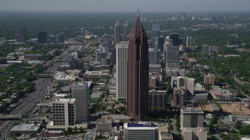 5K stock footage aerial video approaching Bank of America Plaza and tilt down to bird's eye, Midtown Atlanta Aerial Stock Footage | AX37_068