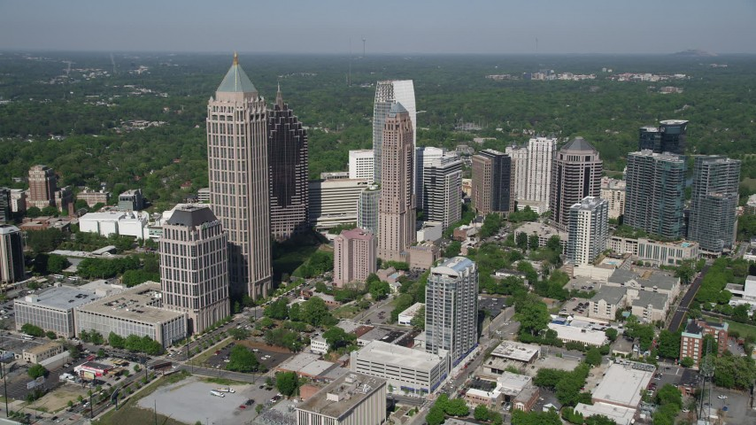 5K stock footage aerial video approaching Midtown Atlanta skyscrapers, Georgia Aerial Stock Footage | AX37_081