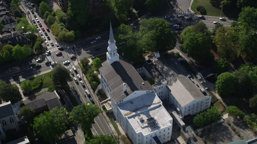 5K stock footage aerial video passing a small city church Church, Buckhead, Georgia Aerial Stock Footage | AX38_011