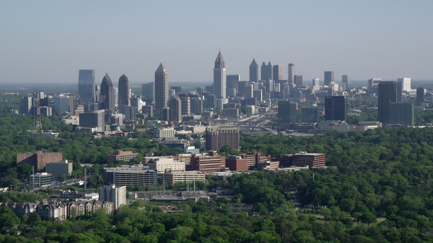 5K stock footage aerial video of the Midtown Atlanta skyline, Buckhead, Georgia Aerial Stock Footage AX38_030 | Axiom Images