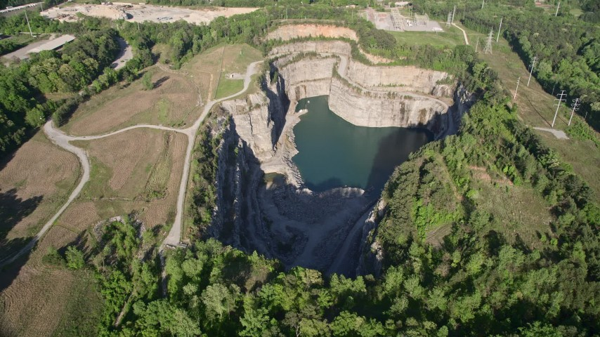 5K stock footage aerial video approaching a quarry, West Atlanta, Georgia Aerial Stock Footage | AX38_047