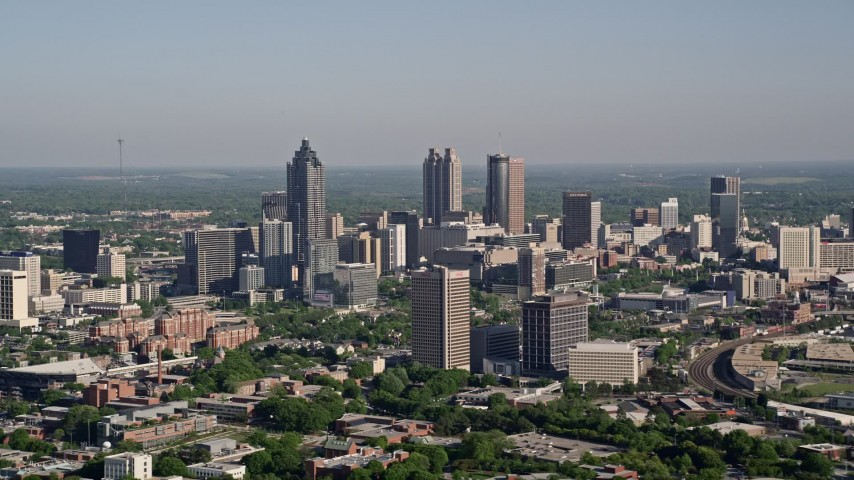 5K aerial video of skyscrapers in Downtown Atlanta, Georgia Aerial Stock Footage | AX38_061