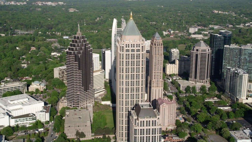 5K aerial video approaching Midtown Atlanta skyscrapers and One Atlantic Center, Georgia Aerial Stock Footage | AX38_062