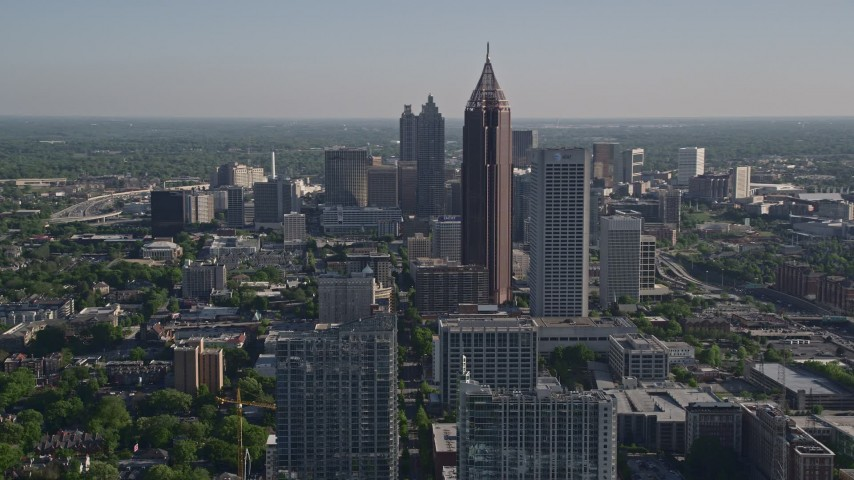 5K stock footage aerial video approaching skyscrapers in Midtown Atlanta, Georgia Aerial Stock Footage | AX38_065