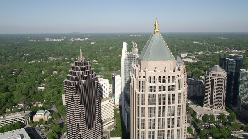 5K stock footage aerial video of a medium shot orbiting Midtown Atlanta skyscrapers, Georgia Aerial Stock Footage | AX38_066