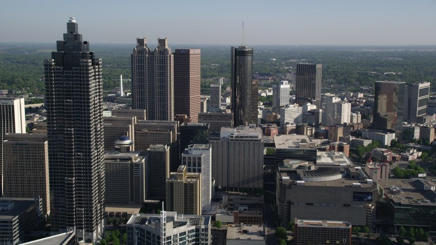 5K stock footage aerial video approaching skyscrapers and office buildings, Downtown Atlanta, Georgia Aerial Stock Footage | AX38_071