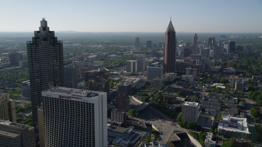 5K stock footage aerial video approaching Bank of America Plaza, Midtown Atlanta, Georgia Aerial Stock Footage | AX38_075