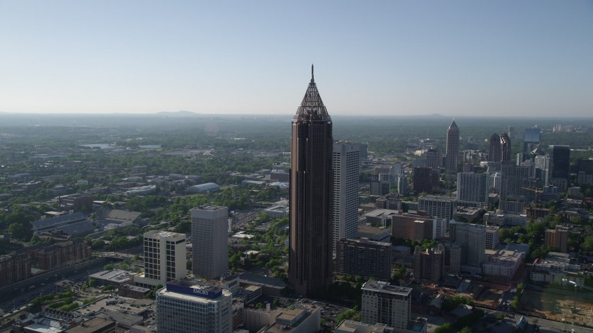 5K stock footage aerial video approaching Bank of America Plaza, Midtown Atlanta, Georgia Aerial Stock Footage | AX38_076