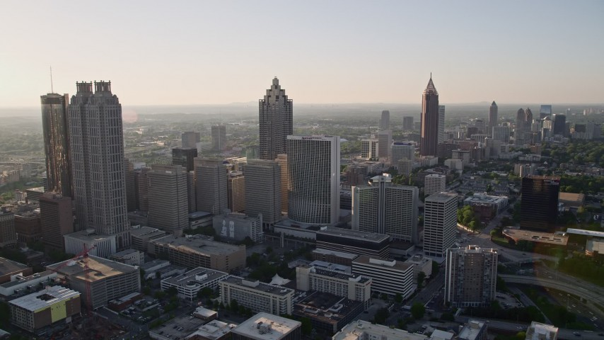 5K aerial video approaching skyscrapers and office buildings; Downtown Atlanta, Georgia Aerial Stock Footage | AX39_017