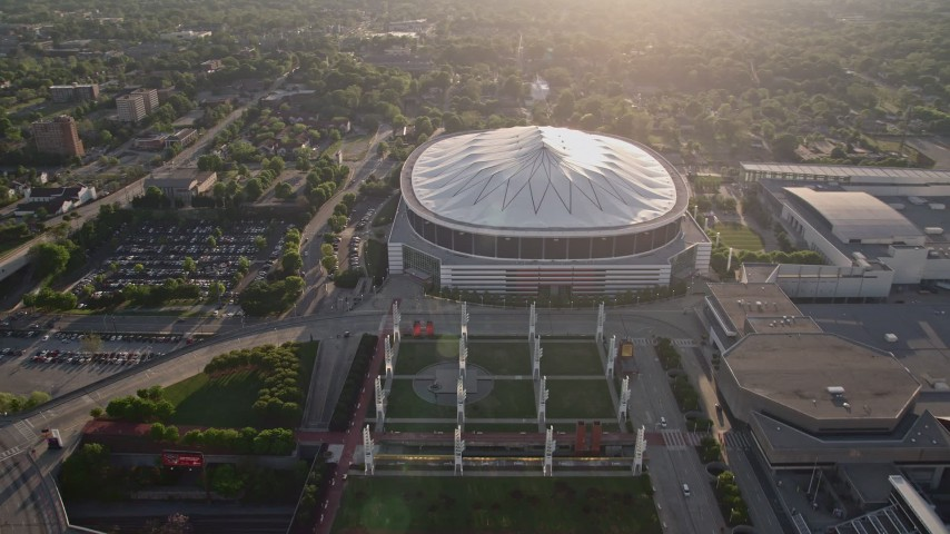 5K stock footage aerial video flying by Georgia Dome, Atlanta, Georgia Aerial Stock Footage | AX39_019