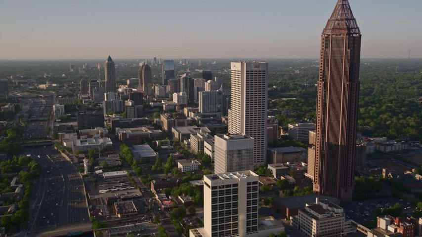 5K stock footage aerial video of Bank of America Plaza and Midtown Atlanta skyscrapers; Georgia Aerial Stock Footage | AX39_020